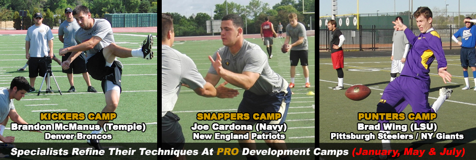 KICKERS, PUNTERS AND SNAPPERS PRO DEVELOPMENT CAMP IN MILWAULKEE, WI (JULY)